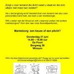 Voorkant flyer themabijeenkomst Mantelzorg 27 juni 2019
