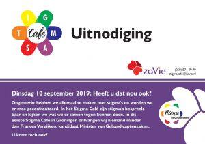 Voorkant van de uitnodiging van het Stigma Café. Tekst komt overeen met tekst website.