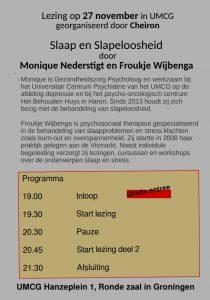 Achterkant flyer lezing Slaap en slapeloosheid, informatie staat ook op de website
