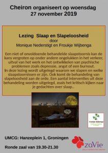voorkant flyer lezing slaap en slapeloosheid, informatie staat ook in tekst op de website