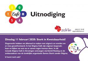 Voorkant van de uitnodiging voor het Stigma Café voor 11 februari 2020